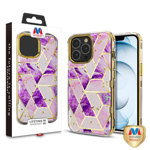 MyBat TUFF Kleer Hybrid Case for Apple iPhone 13 Pro Max (6.7) - Electroplated Purple Marble / Electroplating Gold