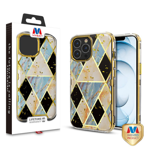 MyBat TUFF Kleer Hybrid Case for Apple iPhone 13 Pro Max (6.7) - Electroplated Blue Marble / Electroplating Gold