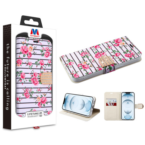 MyBat MyJacket Wallet Diamond Series for Apple iPhone 13 Pro Max (6.7) - Pink Fresh Roses