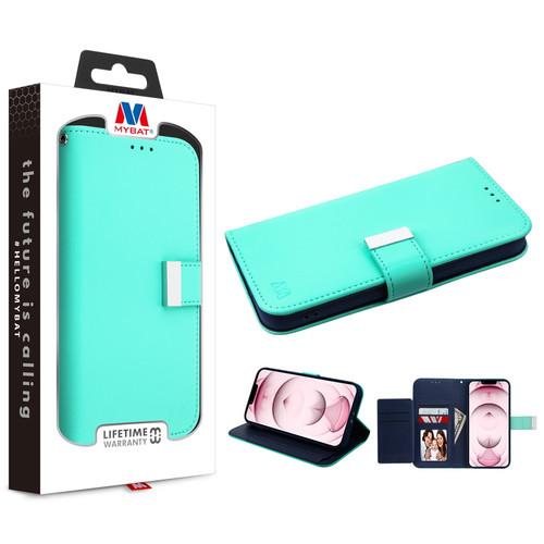 MyBat MyJacket Wallet Xtra Series for Apple iPhone 13 (6.1) - Teal Green / Dark Blue