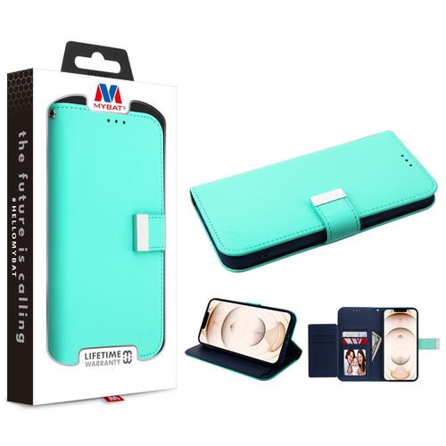 MyBat MyJacket Wallet Xtra Series for Apple iPhone 13 Pro (6.1) - Teal Green / Dark Blue
