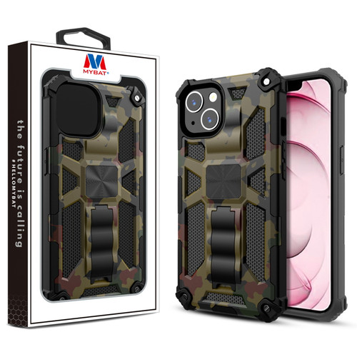 MyBat Sturdy Hybrid Protector Cover (with Stand) for Apple iPhone 13 (6.1) - Green Camouflage / Black
