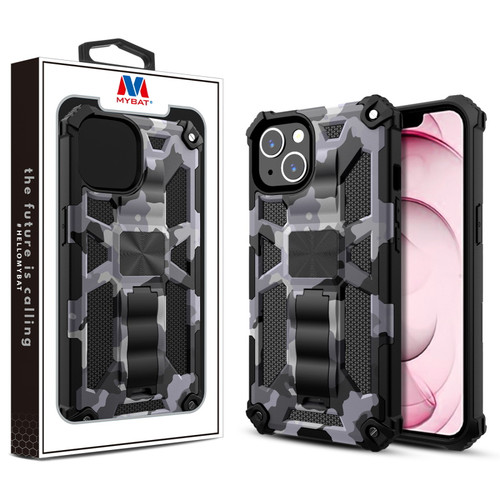 MyBat Sturdy Hybrid Protector Cover (with Stand) for Apple iPhone 13 (6.1) - Gray Camouflage / Black