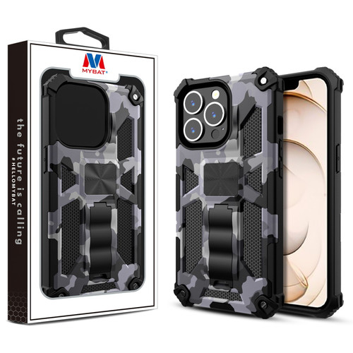 MyBat Sturdy Hybrid Protector Cover (with Stand) for Apple iPhone 13 Pro (6.1) - Gray Camouflage / Black