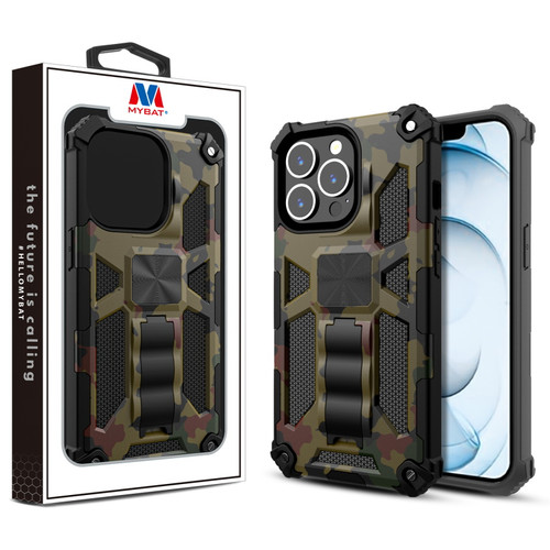 MyBat Sturdy Hybrid Protector Cover (with Stand) for Apple iPhone 13 Pro Max (6.7) - Green Camouflage / Black