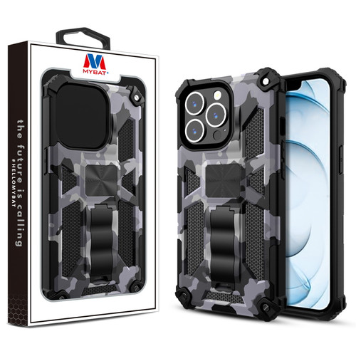 MyBat Sturdy Hybrid Protector Cover (with Stand) for Apple iPhone 13 Pro Max (6.7) - Gray Camouflage / Black