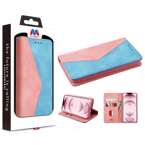 MyBat Splicing MyJacket Wallet for Apple iPhone 13 (6.1) - Pink / Blue