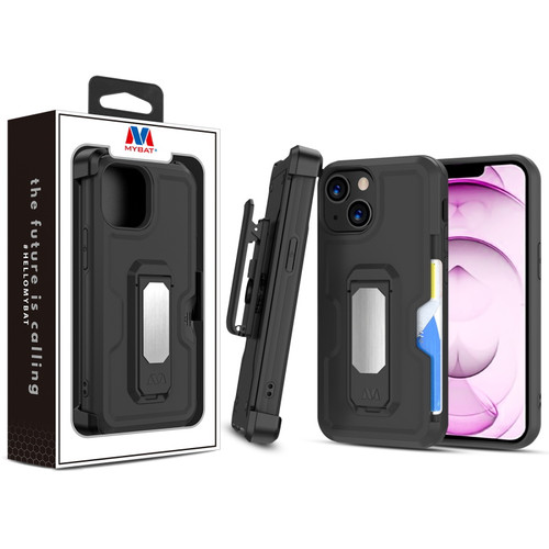 MyBat Grip Stand Protector Case Combo (with Black Holster)(with Card Wallet) for Apple iPhone 13 mini (5.4) - Black / Black