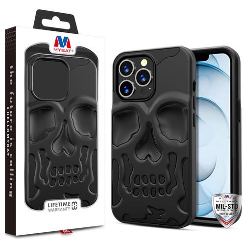 MyBat Skullcap Hybrid Protector Cover for Apple iPhone 13 Pro Max (6.7) - Jet Black / Black