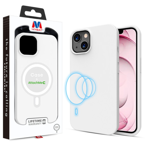 MyBat LIQUID SILICONE EDITION Hybrid Case + AttachMe with MagSafe Compatible for Apple iPhone 13 (6.1) - White