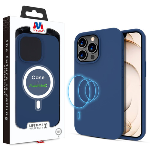 MyBat LIQUID SILICONE EDITION Hybrid Case + AttachMe with MagSafe Compatible for Apple iPhone 13 Pro (6.1) - Navy Blue