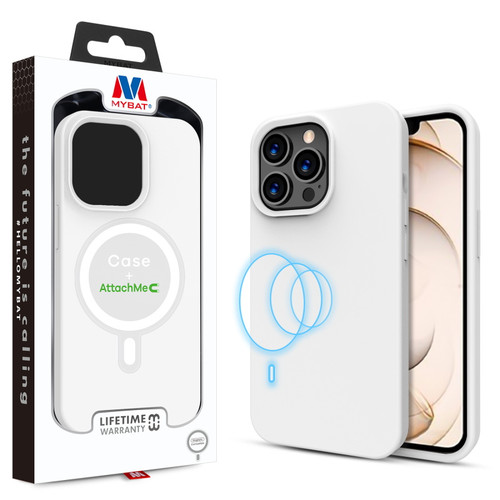 MyBat LIQUID SILICONE EDITION Hybrid Case + AttachMe with MagSafe Compatible for Apple iPhone 13 Pro (6.1) - White