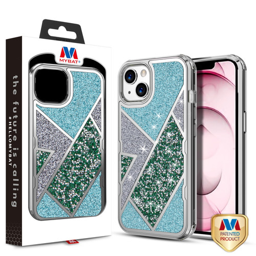 MyBat TUFF Kleer Hybrid Case for Apple iPhone 13 (6.1) - Electroplated Silver / Transparent Clear Mini Crystals & Glitter