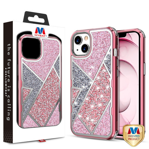 MyBat TUFF Kleer Hybrid Case for Apple iPhone 13 (6.1) - Electroplated Rose Gold / Transparent Clear Mini Crystals & Glitter