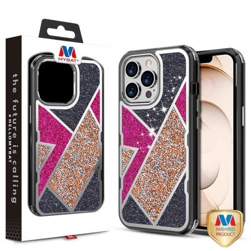 MyBat TUFF Kleer Hybrid Case for Apple iPhone 13 Pro (6.1) - Electroplated Black / Transparent Clear Mini Crystals & Glitter