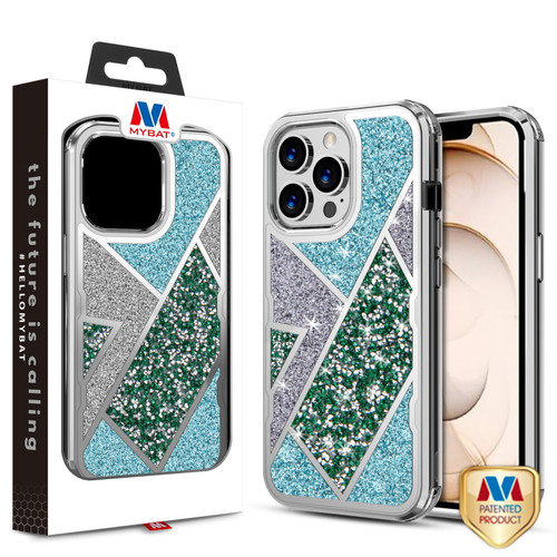 MyBat TUFF Kleer Hybrid Case for Apple iPhone 13 Pro (6.1) - Electroplated Silver / Transparent Clear Mini Crystals & Glitter