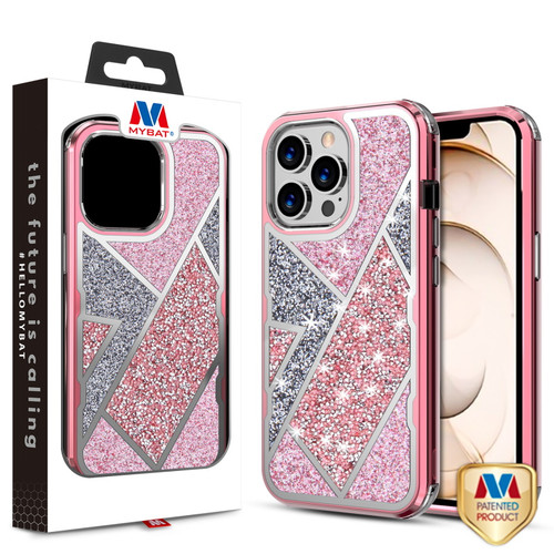 MyBat TUFF Kleer Hybrid Case for Apple iPhone 13 Pro (6.1) - Electroplated Rose Gold / Transparent Clear Mini Crystals & Glitter