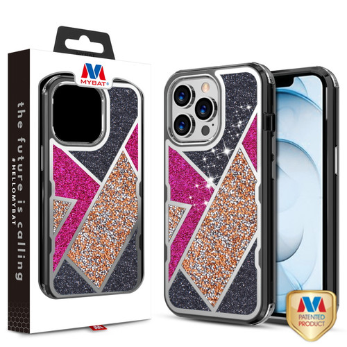 MyBat TUFF Kleer Hybrid Case for Apple iPhone 13 Pro Max (6.7) - Electroplated Black / Transparent Clear Mini Crystals & Glitter