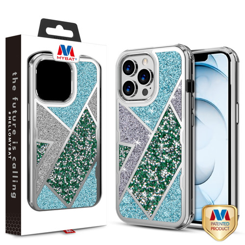 MyBat TUFF Kleer Hybrid Case for Apple iPhone 13 Pro Max (6.7) - Electroplated Silver / Transparent Clear Mini Crystals & Glitter