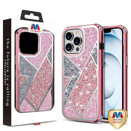 MyBat TUFF Kleer Hybrid Case for Apple iPhone 13 Pro Max (6.7) - Electroplated Rose Gold / Transparent Clear Mini Crystals & Glitter
