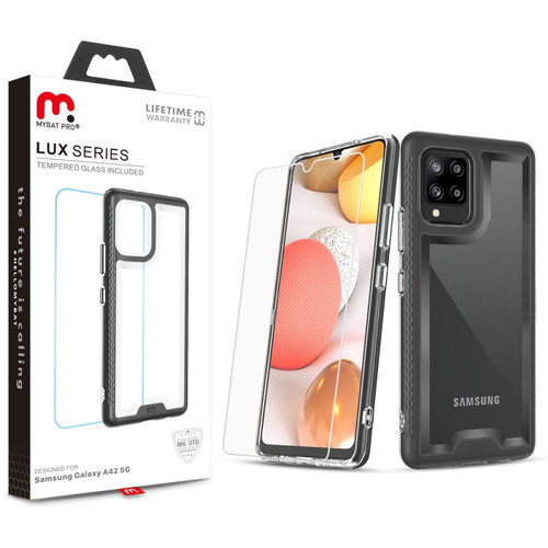MyBat Pro Lux Series Case with Tempered Glass for Samsung Galaxy A42 5G - Black