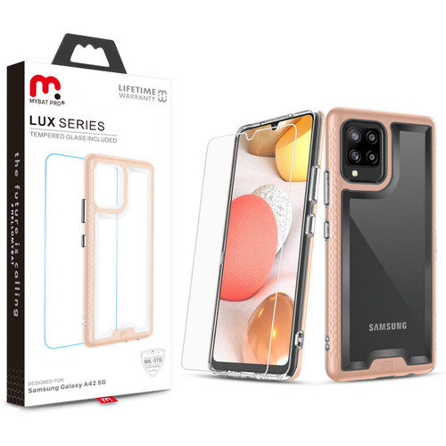 MyBat Pro Lux Series Case with Tempered Glass for Samsung Galaxy A42 5G - Rose Gold