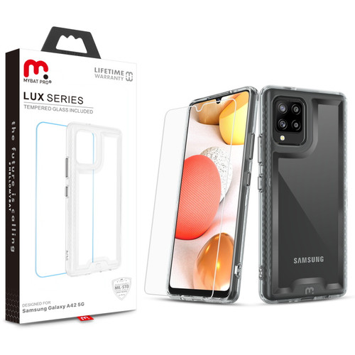 MyBat Pro Lux Series Case with Tempered Glass for Samsung Galaxy A42 5G - Clear