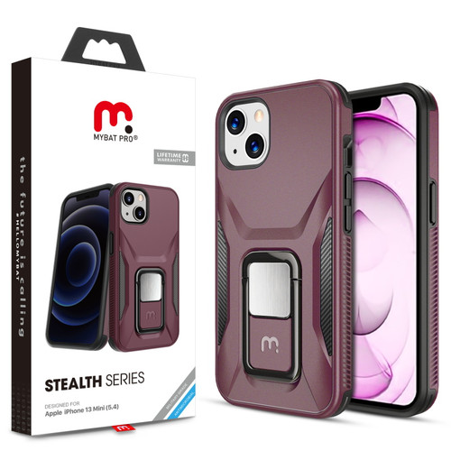 MyBat Pro Antimicrobial Stealth Series (with Stand) for Apple iPhone 13 mini (5.4) - Plum / Black