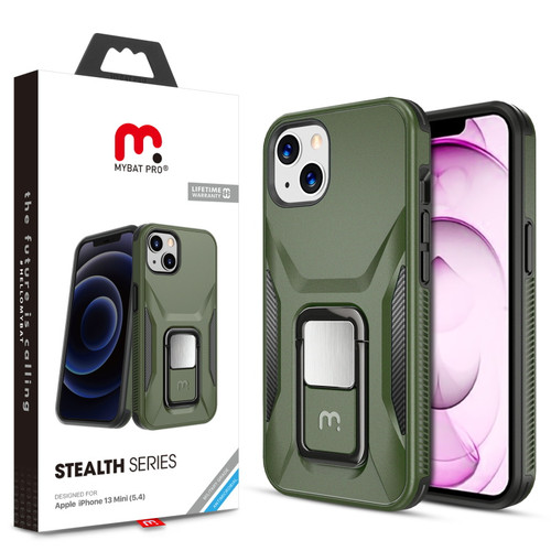 MyBat Pro Antimicrobial Stealth Series (with Stand) for Apple iPhone 13 mini (5.4) - Army Green / Black