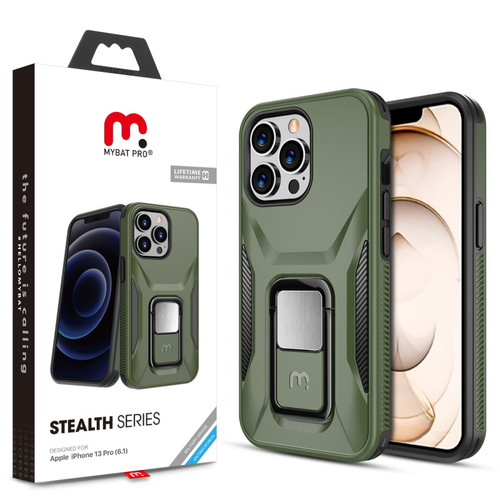 MyBat Pro Antimicrobial Stealth Series (with Stand) for Apple iPhone 13 Pro (6.1) - Army Green / Black