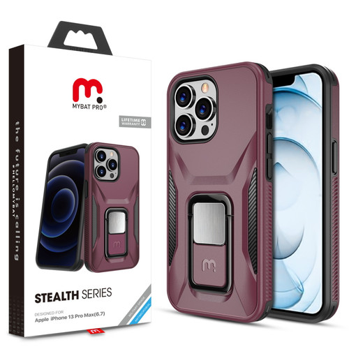 MyBat Pro Antimicrobial Stealth Series (with Stand) for Apple iPhone 13 Pro Max (6.7) - Plum / Black