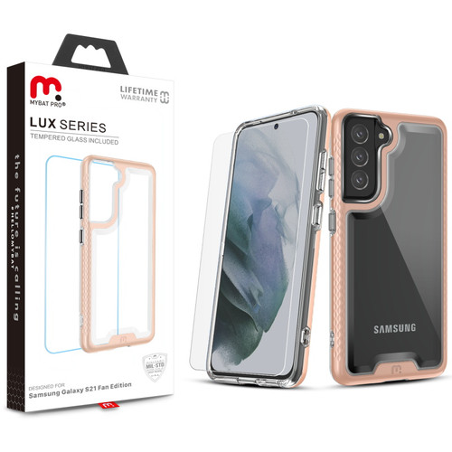 MyBat Pro Lux Series Case with Tempered Glass for Samsung Galaxy S21 Fan Edition - Rose Gold