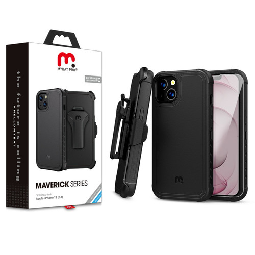 MyBat Pro Antimicrobial Maverick Series Case with Holster and Tempered Glass for Apple iPhone 13 (6.1) - Black / Black
