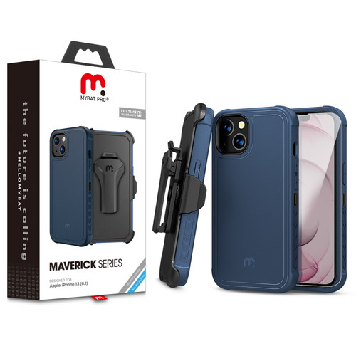 MyBat Pro Antimicrobial Maverick Series Case with Holster and Tempered Glass for Apple iPhone 13 (6.1) - Blue / Black