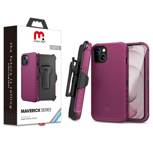 MyBat Pro Antimicrobial Maverick Series Case with Holster and Tempered Glass for Apple iPhone 13 (6.1) - Plum / Black