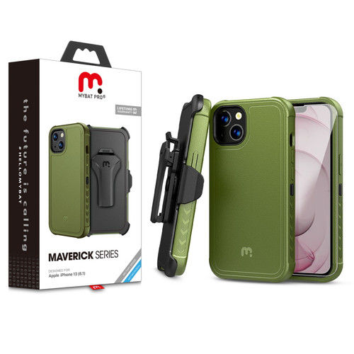 MyBat Pro Antimicrobial Maverick Series Case with Holster and Tempered Glass for Apple iPhone 13 (6.1) - Army Green / Black