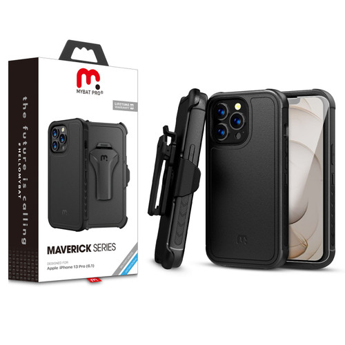 MyBat Pro Antimicrobial Maverick Series Case with Holster and Tempered Glass for Apple iPhone 13 Pro (6.1) - Black / Black