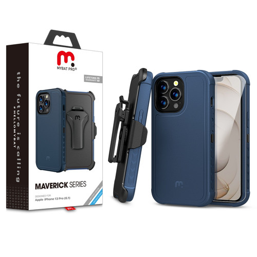 MyBat Pro Antimicrobial Maverick Series Case with Holster and Tempered Glass for Apple iPhone 13 Pro (6.1) - Blue / Black