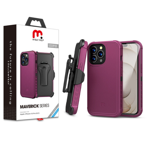 MyBat Pro Antimicrobial Maverick Series Case with Holster and Tempered Glass for Apple iPhone 13 Pro (6.1) - Plum / Black