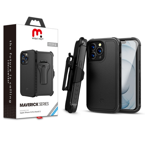 MyBat Pro Antimicrobial Maverick Series Case with Holster and Tempered Glass for Apple iPhone 13 Pro Max (6.7) - Black / Black