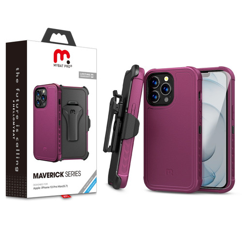 MyBat Pro Antimicrobial Maverick Series Case with Holster and Tempered Glass for Apple iPhone 13 Pro Max (6.7) - Plum / Black