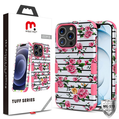 MyBat Pro TUFF Series Case for Apple iPhone 13 Pro Max (6.7) - Pink Fresh Roses / Electric Pink