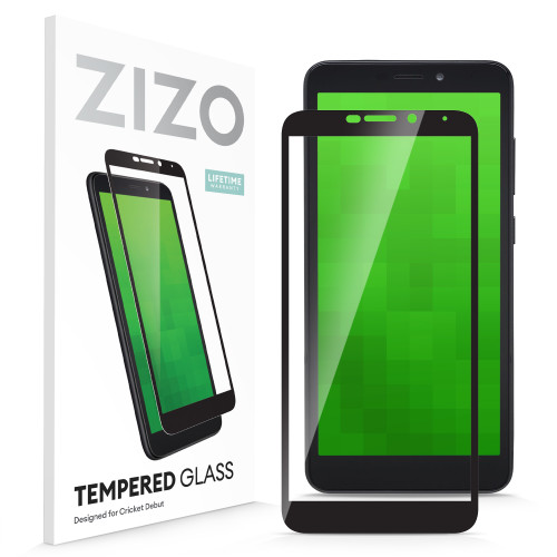 ZIZO TEMPERED GLASS Screen Protector for Cricket Debut Full Glue Clear Screen Protector with Anti Scratch and 9H Hardness - Black GLSHD-CKDB-BLK