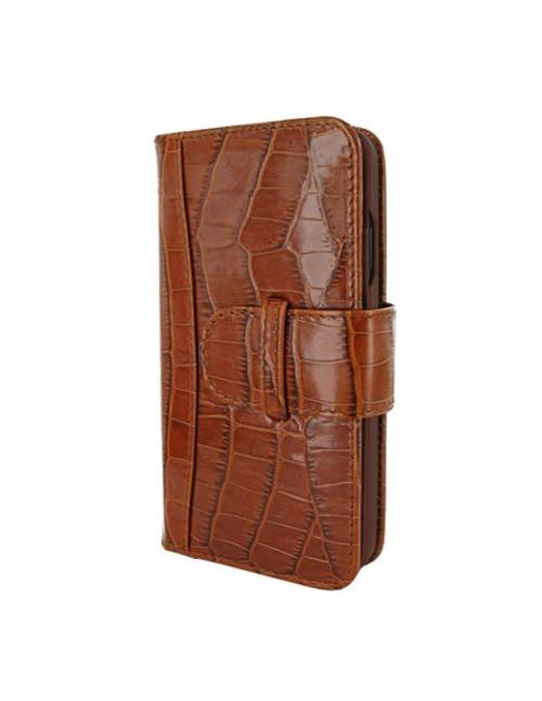 Piel Frama 905 Brown Crocodile WalletMagnum Leather Case for Apple iPhone 13 mini