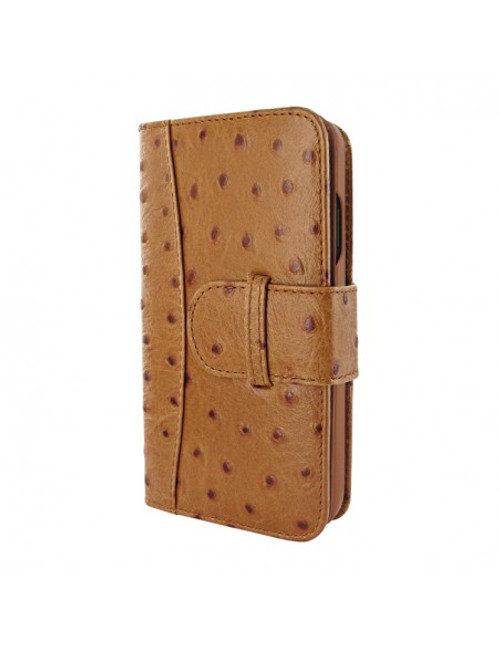 Piel Frama 905 Tan Ostrich WalletMagnum Leather Case for Apple iPhone 13 mini