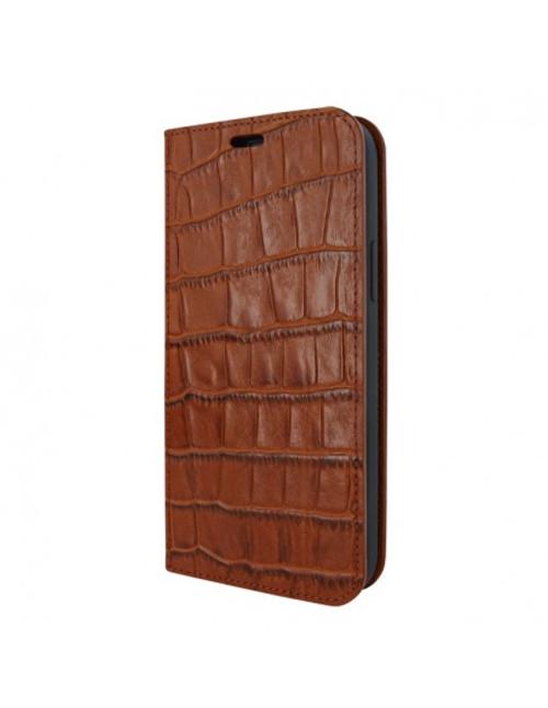 Piel Frama 908 Brown Crocodile FramaSlimCards Leather Case for Apple iPhone 13 mini