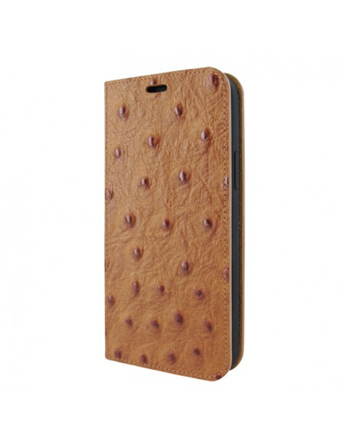 Piel Frama 908 Tan Ostrich FramaSlimCards Leather Case for Apple iPhone 13 mini