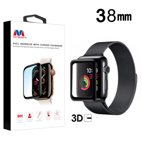 MyBat Full Adhesive with Curved Coverage Premium Tempered Glass Screen Protector for Apple watch 38mm/Watch Series 3 38mm / Watch Series 2 38mm - Black