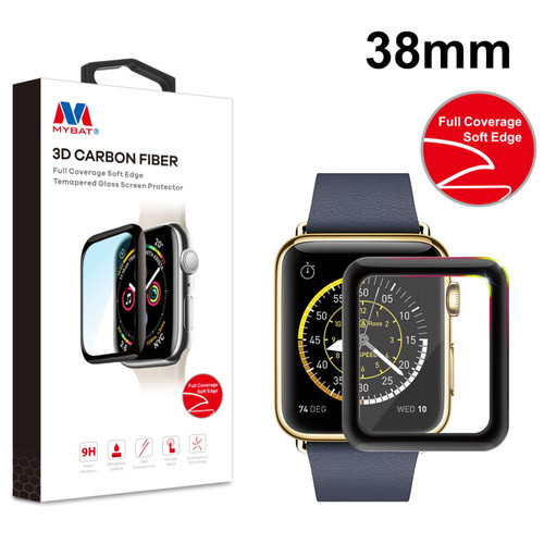 MyBat 3D Carbon Fiber Full Coverage Soft Edge Tempered Glass Screen Protector for Apple watch 38mm/Watch Series 3 38mm / Watch Series 2 38mm - Black