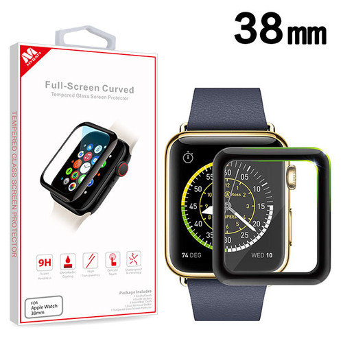 MyBat Full-screen Curved Tempered Glass Screen Protector for Apple watch 38mm/Watch Series 3 38mm / Watch Series 2 38mm - Black